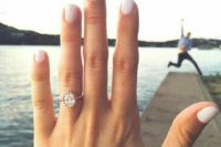 15 a chic rose gold engagement ring with a large oval diamond is a gorgeous idea for a girl who loves vintage