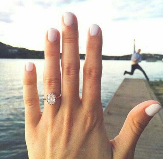 a chic rose gold engagement ring with a large oval diamond is a gorgeous idea for a girl who loves vintage