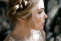 17 a halo braided updo with some star hair pins and a moon one for an ultimate boho look