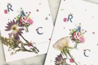 18 wedding invitations with pressed blooms and greenery and petals look bold and chic