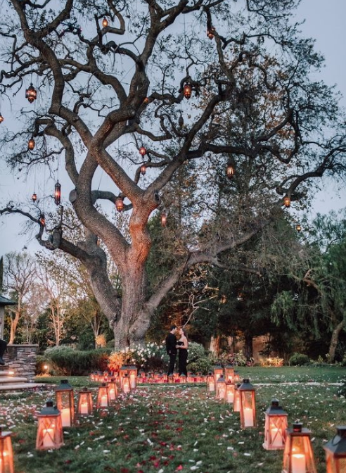 a beautiful idea of a summer or fall proposal with a romantic space, petals, candle lanterns and lanterns on the tree but just you two