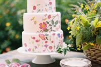 20 a bright summer wedding cake – a white one with pressed pink blooms and petals plus greenery