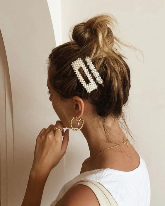 faux pearl hair clips like these ones combine two trends in one   pearls and hair clips