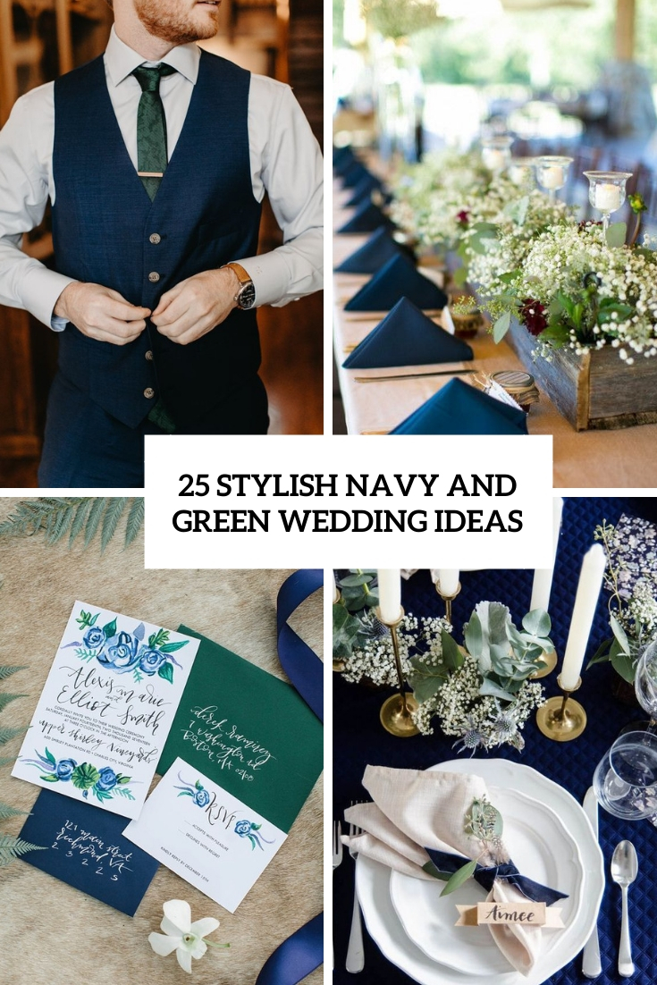 stylish navy and green wedding ideas cover