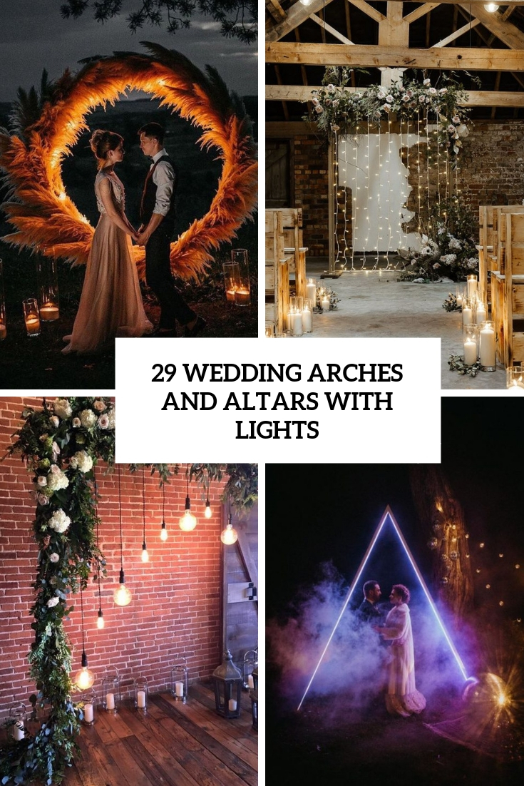 wedding arches and altars with lights cover