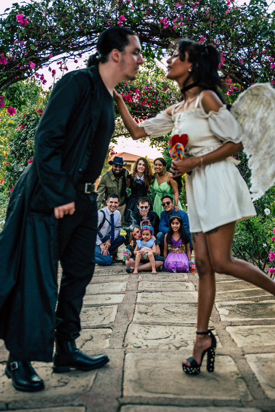 a stylish halloween wedding