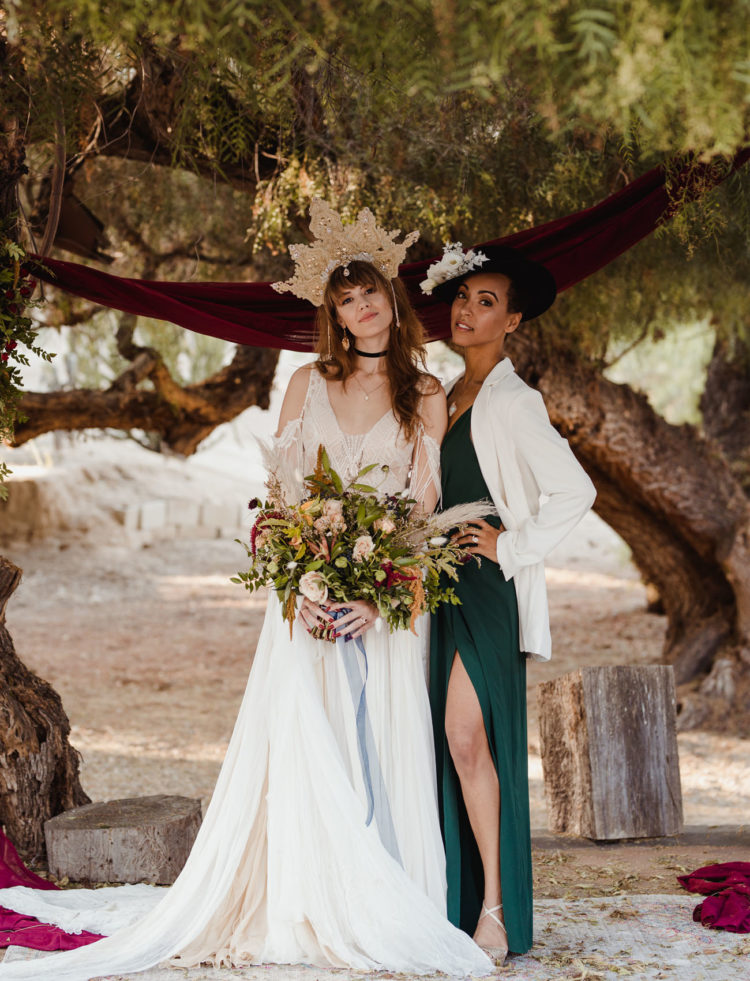 Witchy Stevie Nicks Inspired Same Sex Wedding Shoot