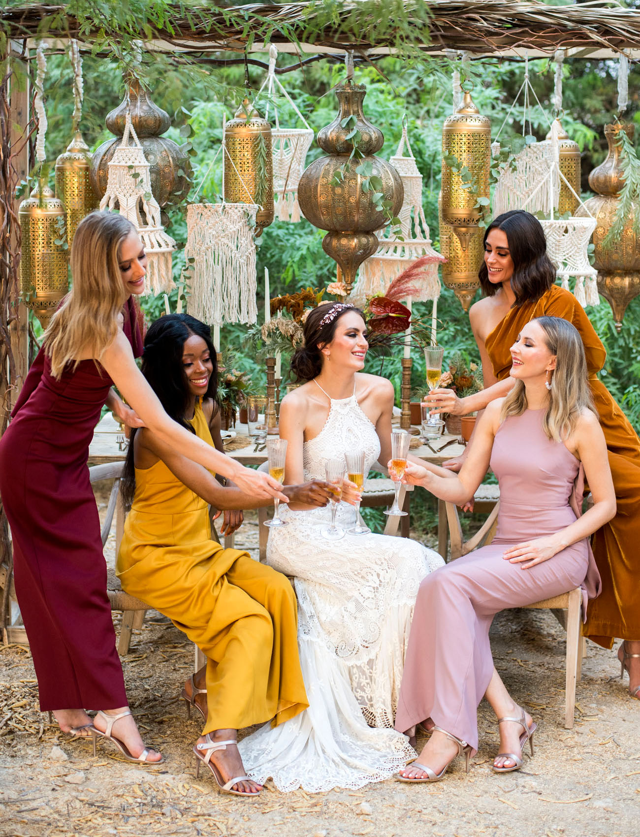 This wedding shoot took place in ancient city of Damask, with Arabian spice colors and lots of boho details