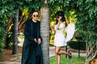 02 The bride dressed as a little angel with Steve Madden shoes and the groom dressed as Neo from the Matrix