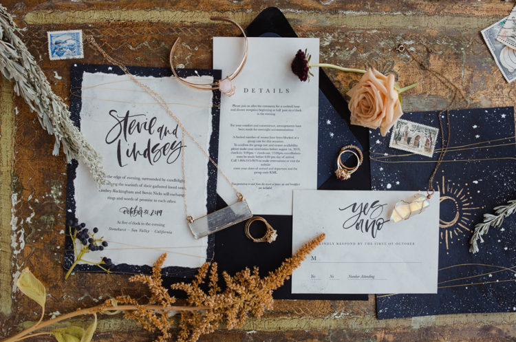 The wedding stationary was done in navy, with stars, calligraphy and celestial details