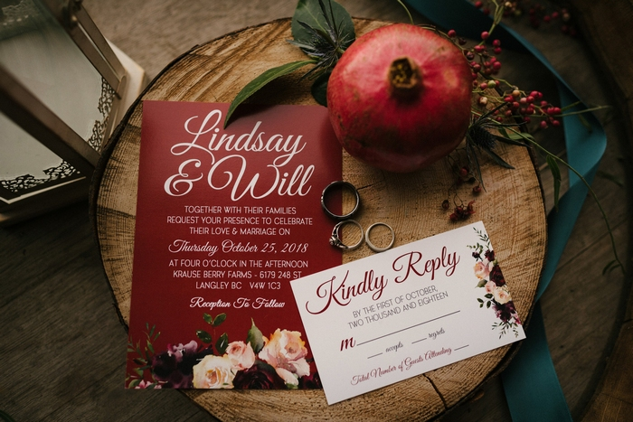 The wedding stationary was done in rich shades, with florla printing and chic calligraphy