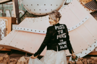 04 She also rocked a personalized black leather jacket to highlight her wedding date