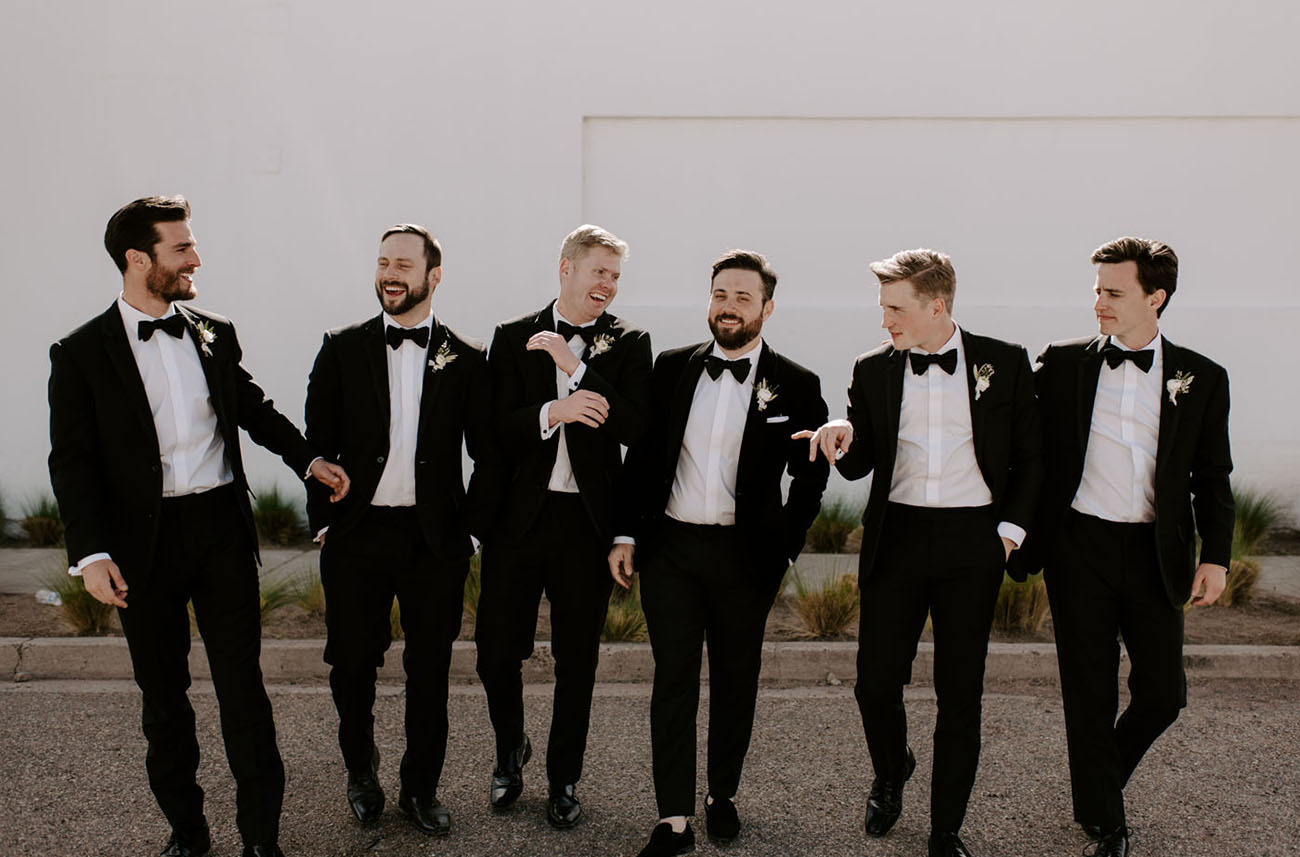 The groom and gents were rocking black tuxedos
