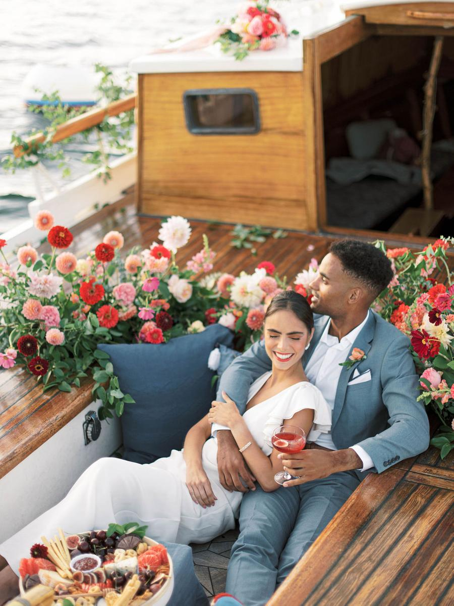 The ship was decorated with super lush and bright florals