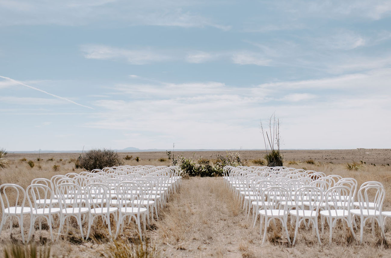 The wedding ceremony space was right in the desert