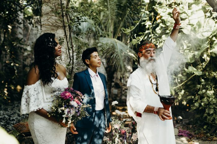 The couple chose a shaman to hold their wedding ceremony