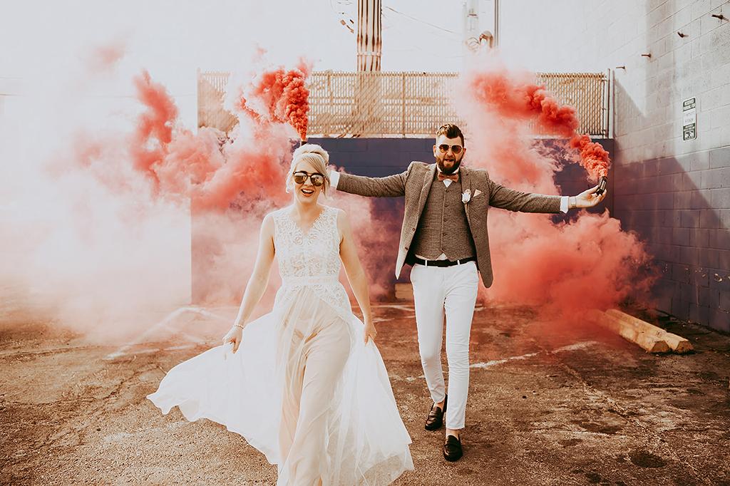 wedding photo with smoke bombs