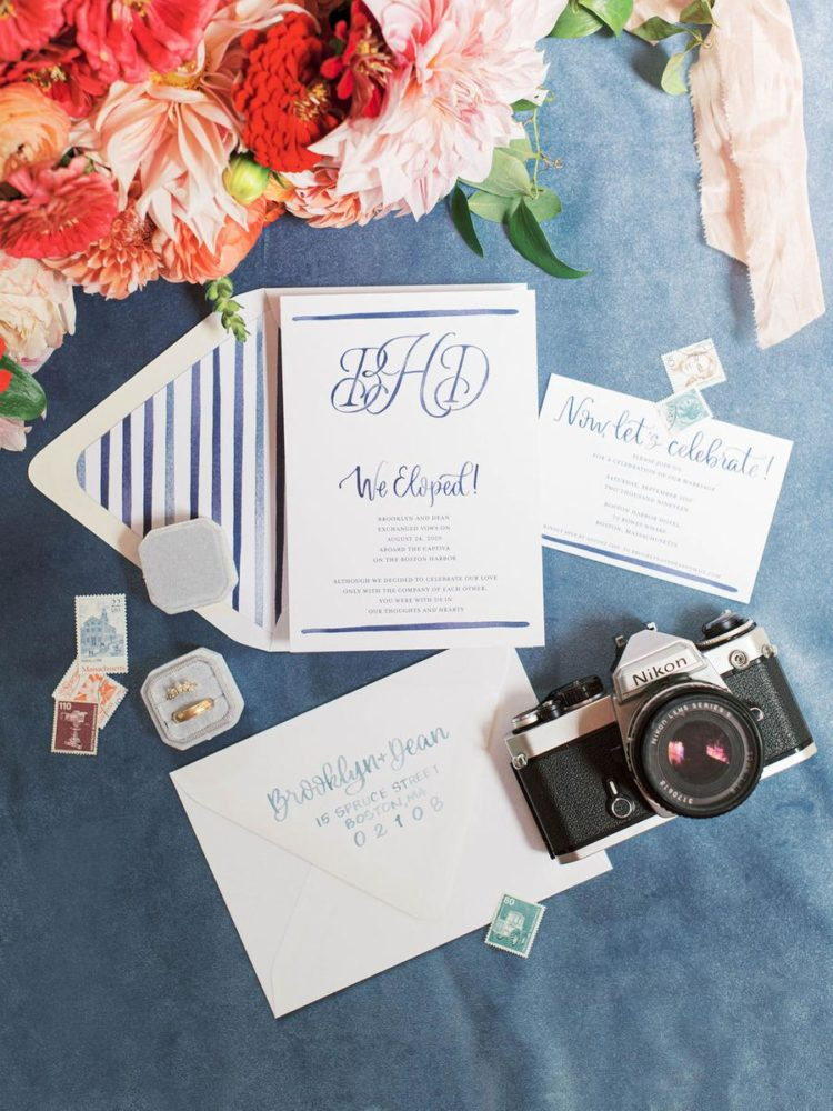 The wedding invitation suite was a marine one, with blue and navy stripes