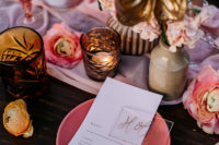 08 You can also see pink plates, a pink table runner, sheer place cards and simple menus