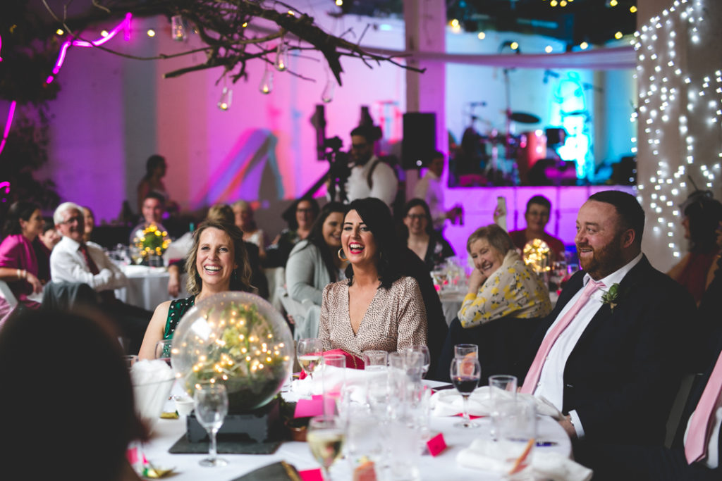 Lights and neon made the reception space bolder and brighter and more modern at the same time