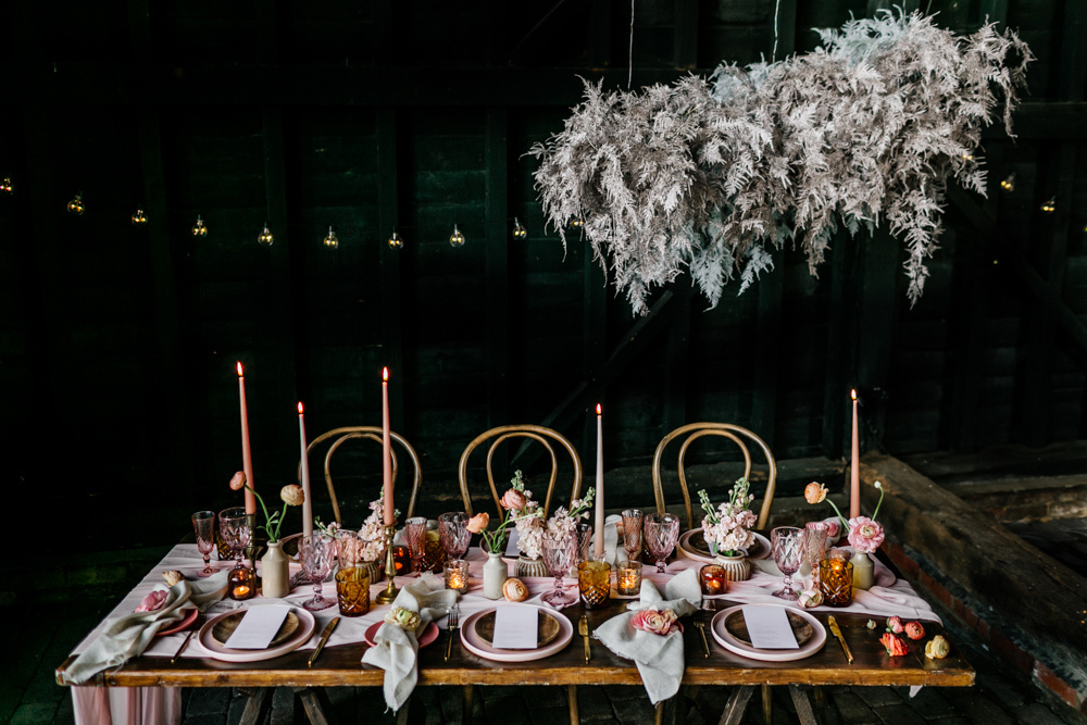 A dried and whitewashed herb overhead installation was a nice idea for this shoot