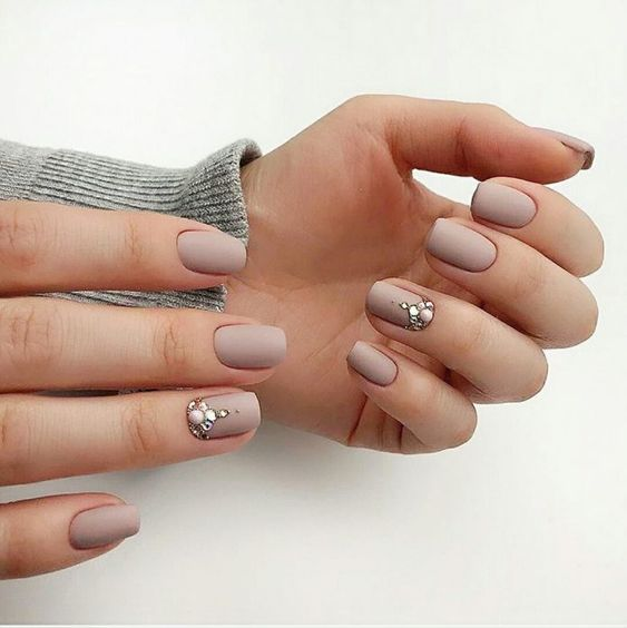 matte grey squoval nails with accented ring fingers - large pearls, rhinestones and gold for a refined bride