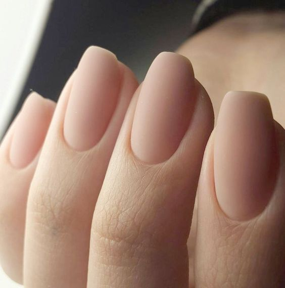 matte nails of a very natural shade will look as if there's no nail polish on