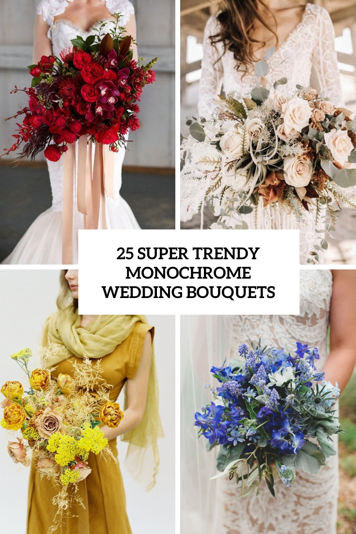 super trendy monochrome wedding bouquets cover