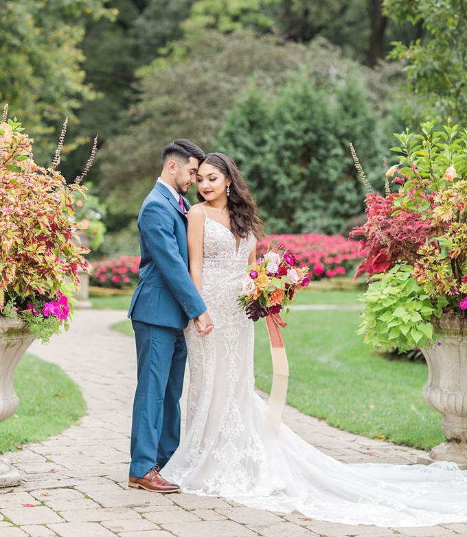 This beautiful wedding shoot was done in jewel tones and a bit of blus to inspire couples to get married in the fall