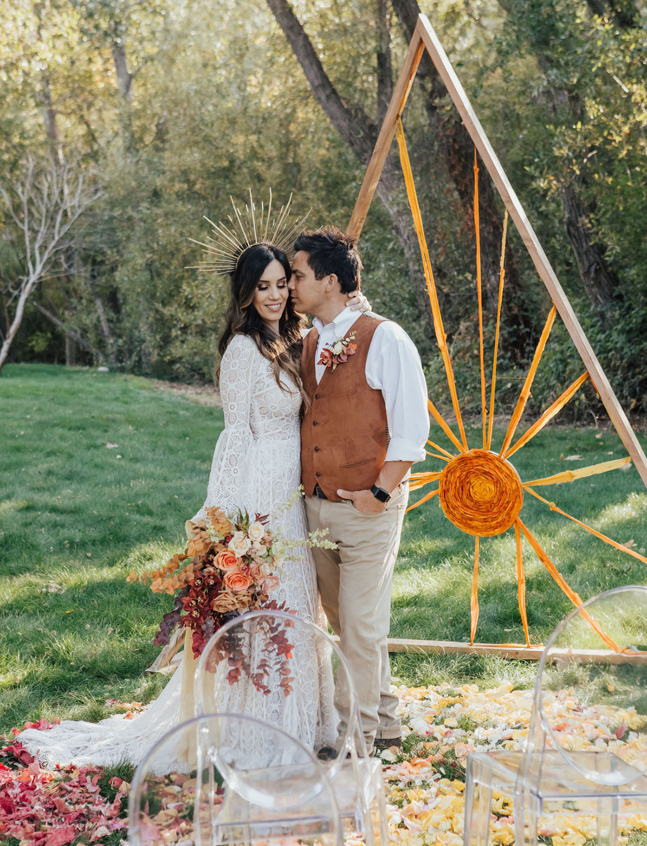 This boho wedding shoot was inspired by sunsets and a bright fall color palette