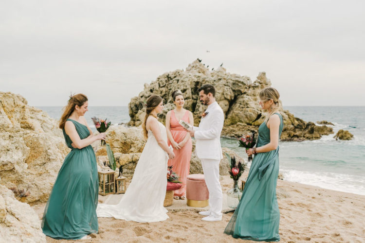Intimate Beach Wedding Elopement In Barcelona