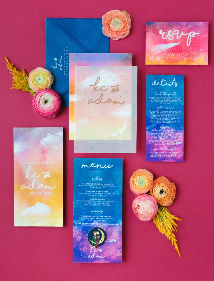 The wedding invitation suite was super bright and colorful, with lot sof watercolors