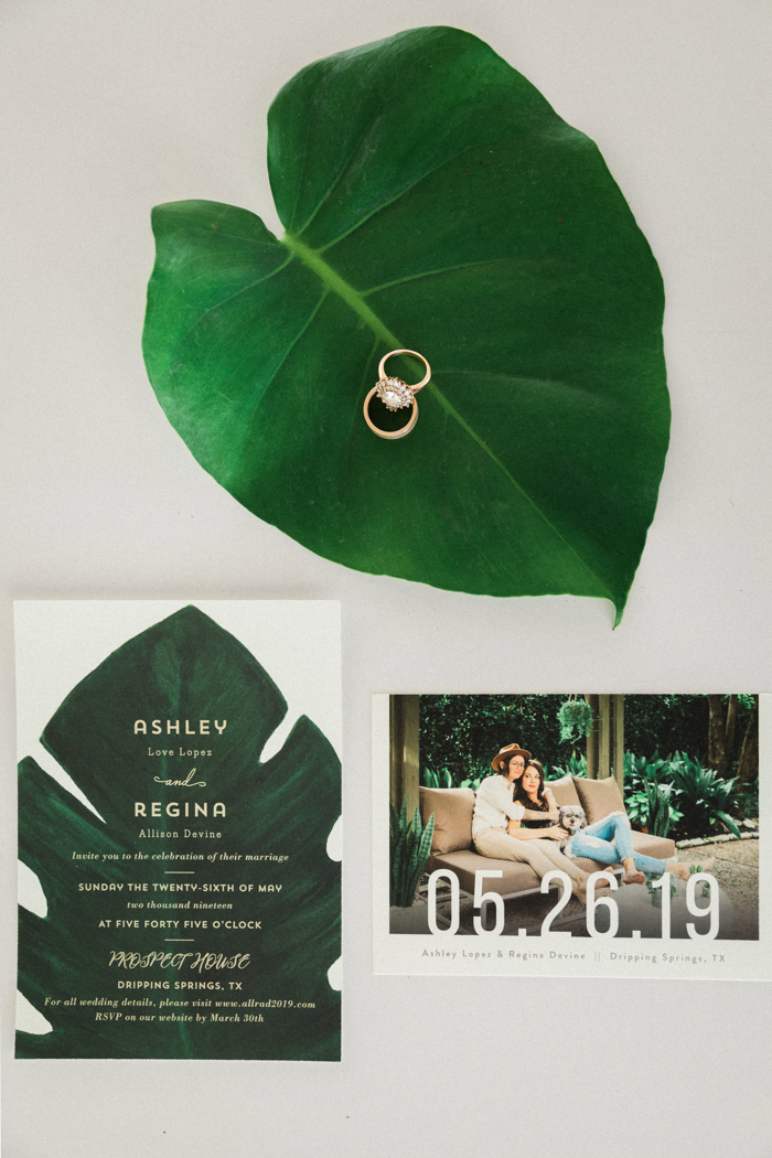 The wedding stationary was done modern and minimal, with metallics and photos of the couple