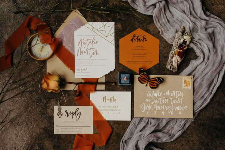 The wedding stationery was done with geometric prints, raw edges and in bright colors