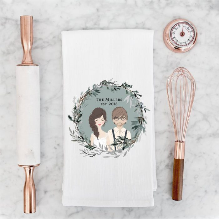 a fun illustrated portrait personalized tea towel will be a cute heart-warming gift for a couple