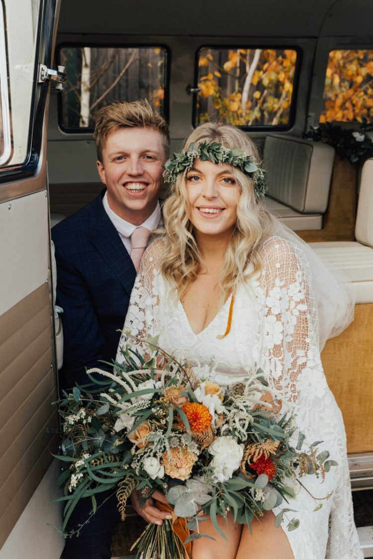 The wedding bouquet was amazing, with white and orange blooms and lots of greenery