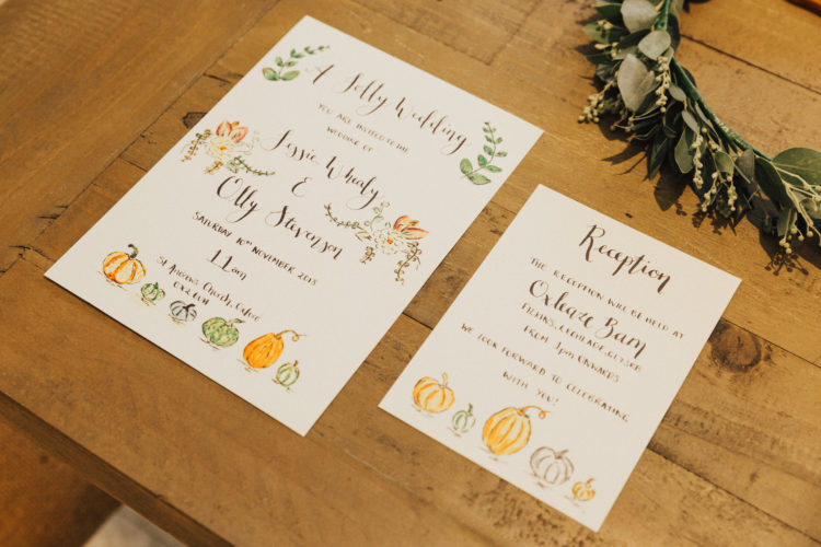 The wedding stationery showed off some handpainted pumpkins