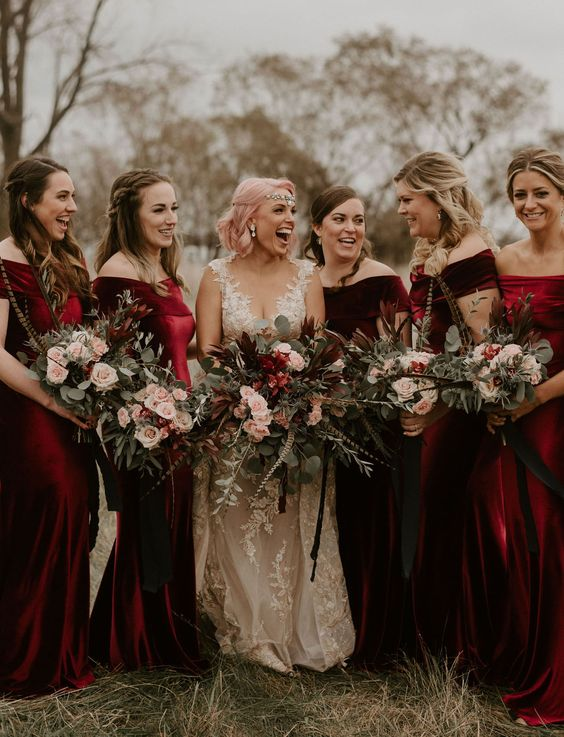 burgundy and deep red off the shoulder mermaid bridesmaid dresses look super chic and cool