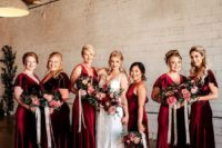 06 deep red velvet maxi bridesmaid dresses are a nice idea for fall or winter weddings