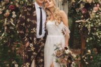 07 The groom was wearing a dark floral print suit