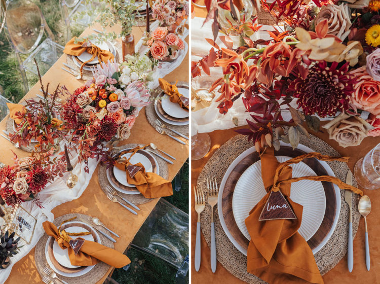 The wedding reception table was done with lush floral and foliage centerpieces, candles, bold napkins and woven placemats