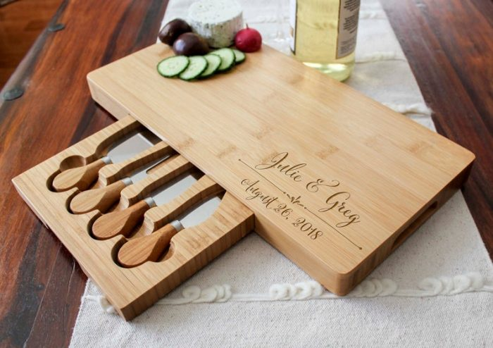 an engraved cheese board set is a great gift for a cheese-loving couple and for those who love hosting parties