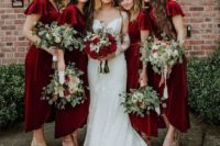 07 deep red wrap velvet midi dresses with short sleeves and asymmetrical skirts are very chic and statement-like