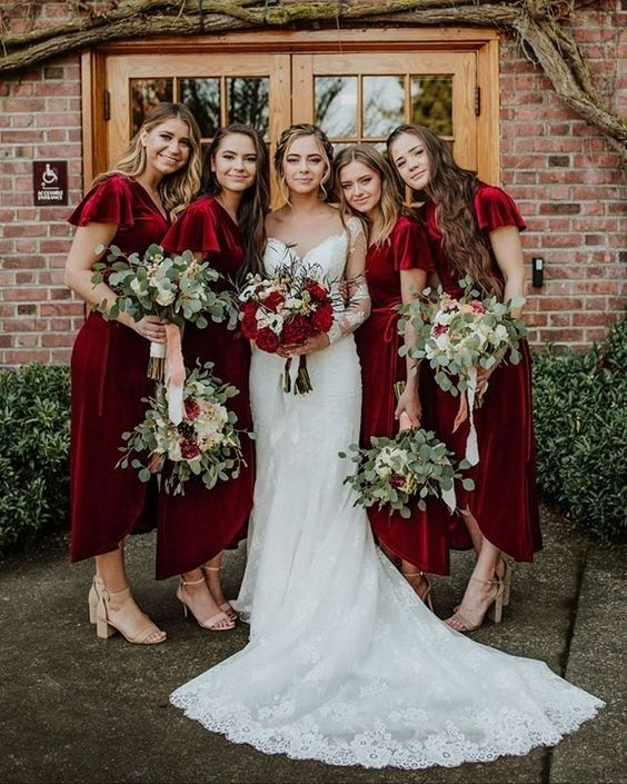 deep red wrap velvet midi dresses with short sleeves and asymmetrical skirts are very chic and statement like