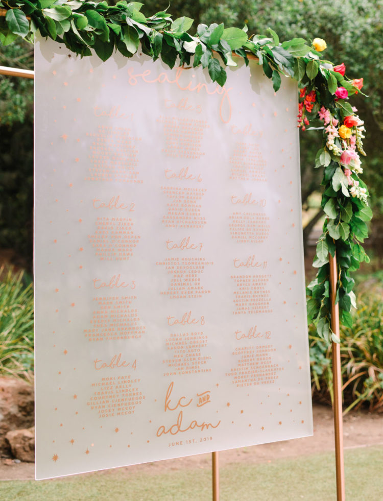 The wedding seating chart was elegant and ultra-modern