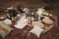 08 There was a lush boho picnic styled for the shoot, with rugs, jute ottomans, tablecloths and pillows