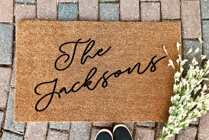 a personalized door mat is always a good idea for both a married and an engaged couple