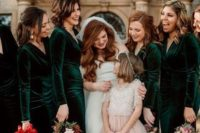 08 emerald velvet fitting maxi bridesmaid dresses with long sleeves and V-necklines to keep the girls warm