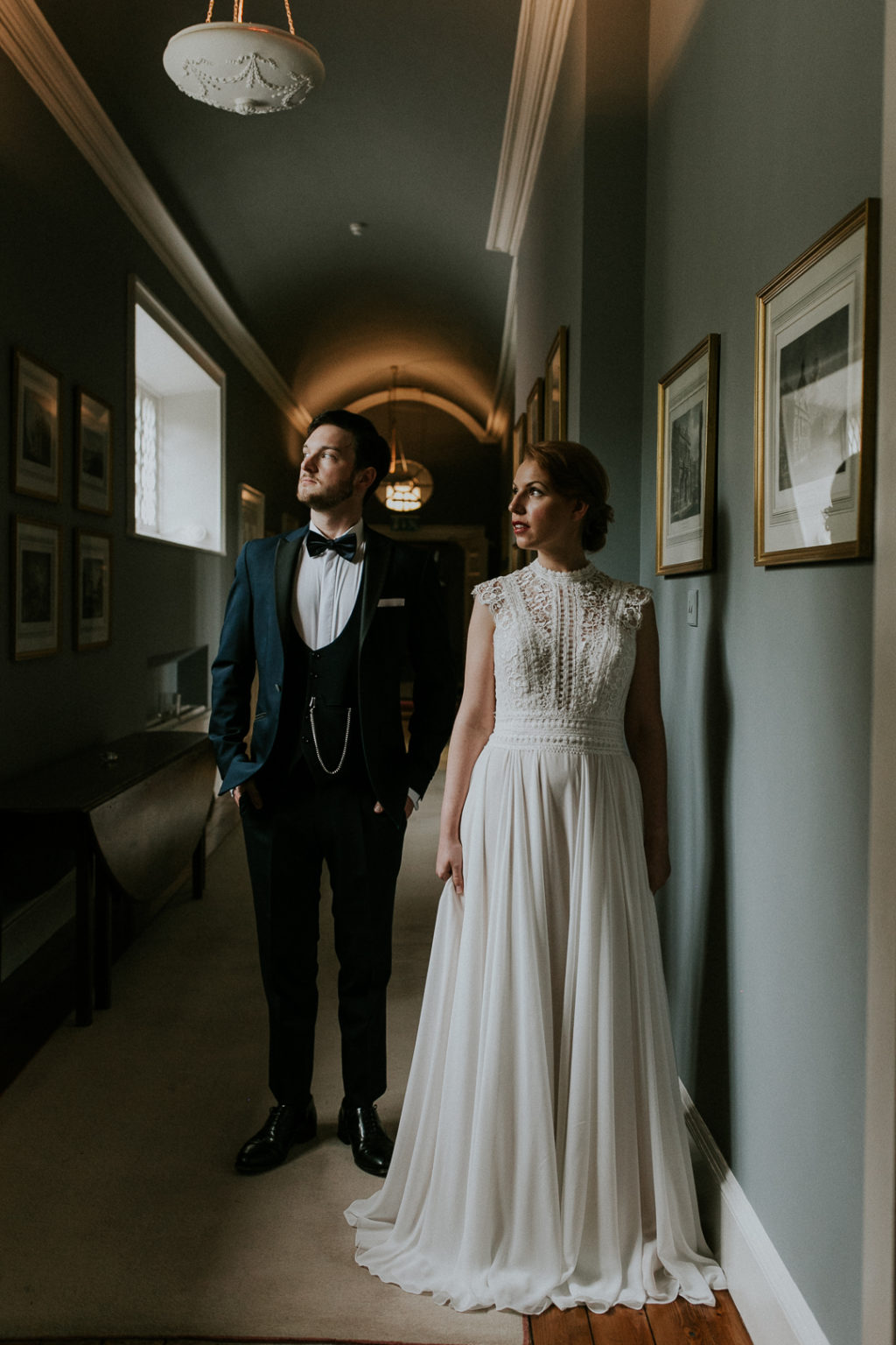 The second wedding dress was an A line one, with cap sleeves, a high neckline and a lace bodice