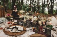 09 The wedding centerpiece was done with pampas grass, blooms, greenery and woven placemats